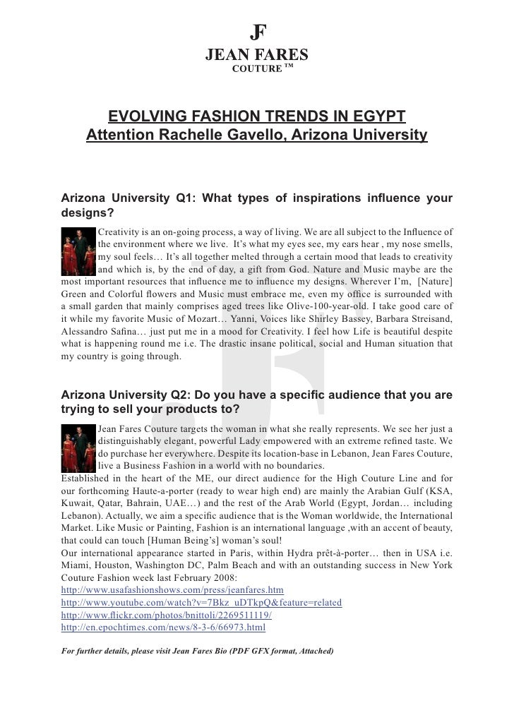 EVOLVING FASHION TRENDS IN EGYPT       Attention Rachelle Gavello, Arizona University    Arizona University Q1: What types...
