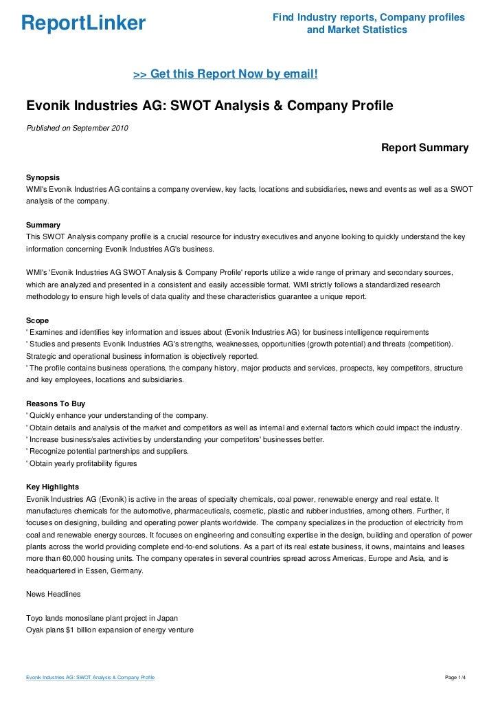 Evonik Industries AG: SWOT Analysis & Company Profile