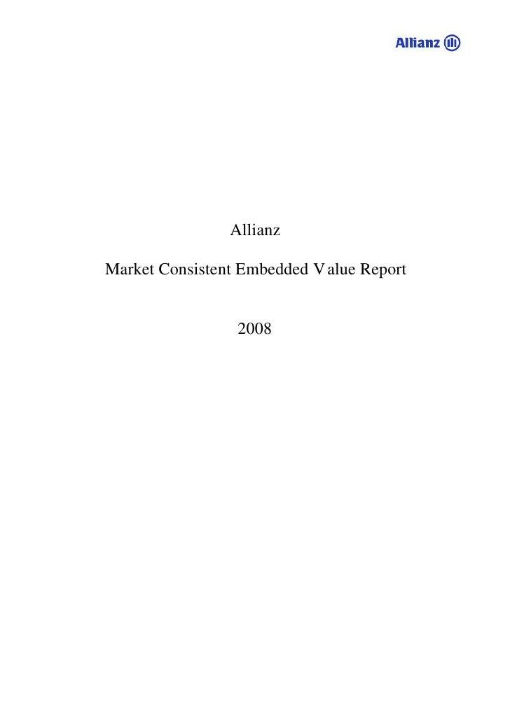Allianz  Market Consistent Embedded V alue Report                    2008