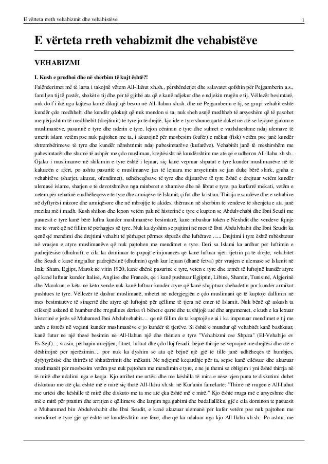E vërteta rreth vehabizmit dhe vehabistëve 1 E vërteta rreth vehabizmit dhe vehabistëve VEHABIZMI I. Kush e prodhoi dhe në...
