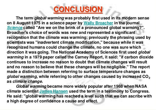 conclusion for global warming research paper