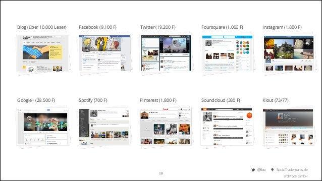Blog (über 10.000 Leser)  Facebook (9.100 F)  Twitter (19.200 F)  Foursquare (1.000 F)  Instagram (1.800 F)  Google+ (29.5...