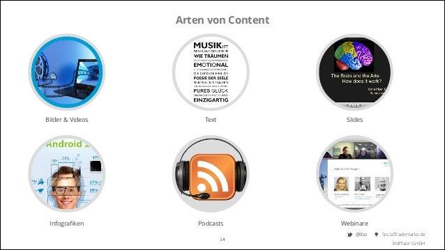 Arten von Content  Bilder & Videos  Text  Slides  Infografiken  Podcasts  Webinare  14  @Ibo  SocialTrademarks.de 3rdPlace ...