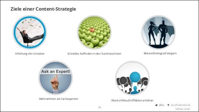 Ziele einer Content-Strategie  Erhöhung der Umsätze  Schnelles Auffinden in den Suchmaschinen  Wahrnehmen als Fachexperten  ...