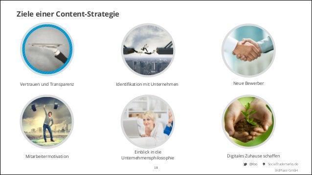 Ziele einer Content-Strategie  Vertrauen und Transparenz  Identifikation mit Unternehmen  Mitarbeitermotivation  Einblick i...