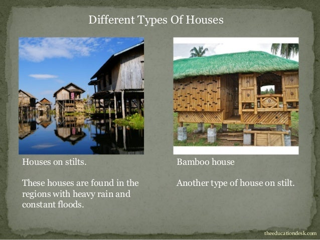 Environmental science evs houses and clothing class ii for Names of different house styles