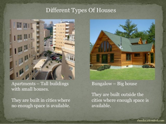Different types of houses for school project