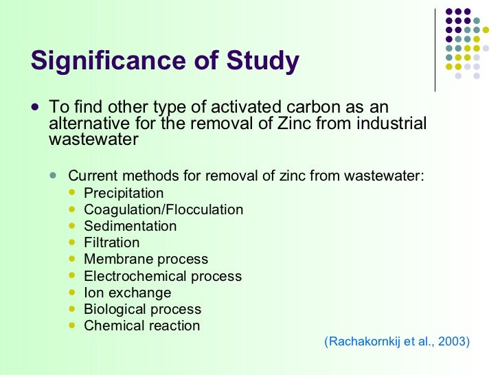 Zinc removal wastewater filter