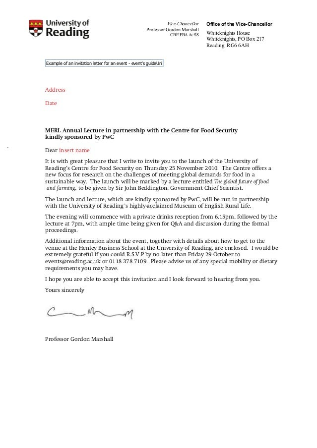 letter writing invitation letter vice chancellor professor gordon marshall cbe fba acss office of the vice chancellor