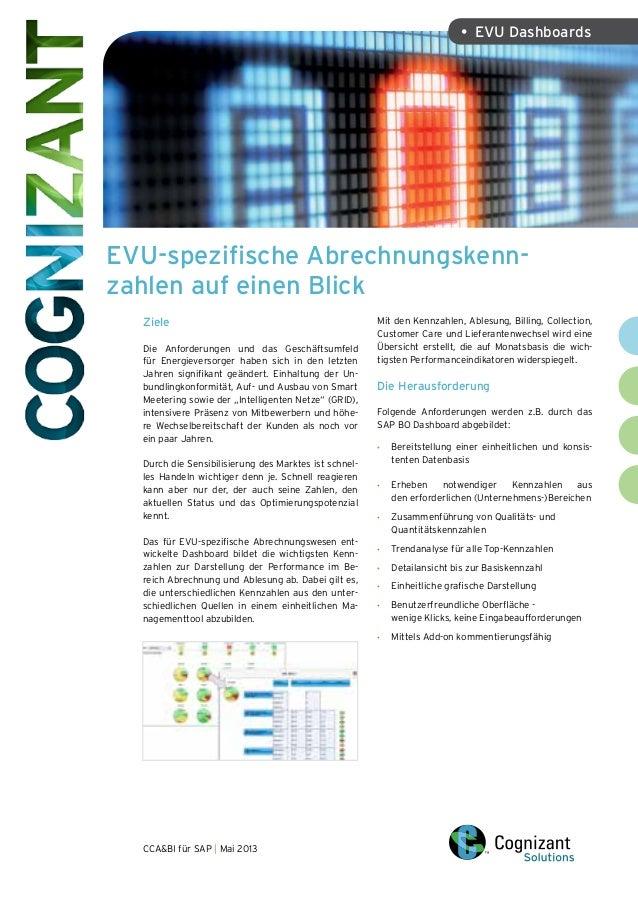 EVU-spezifische Abrechnungskenn- zahlen auf einen Blick CCA&BI für SAP | Mai 2013 • EVU Dashboards Ziele Die Anforderunge...