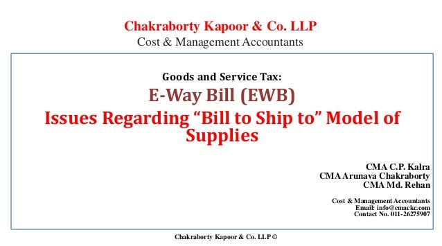 "Issues Regarding ""Bill to Ship to"" Model of Supplies"