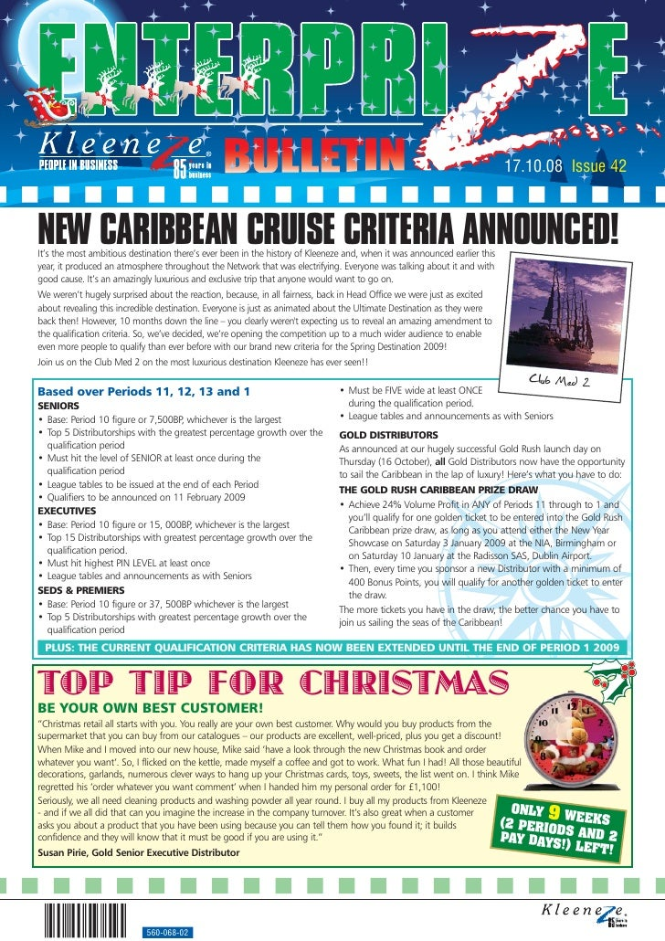 17.10.08 Issue 42    NEW CARIBBEAN CRUISE CRITERIA ANNOUNCED! It's the most ambitious destination there's ever been in the...