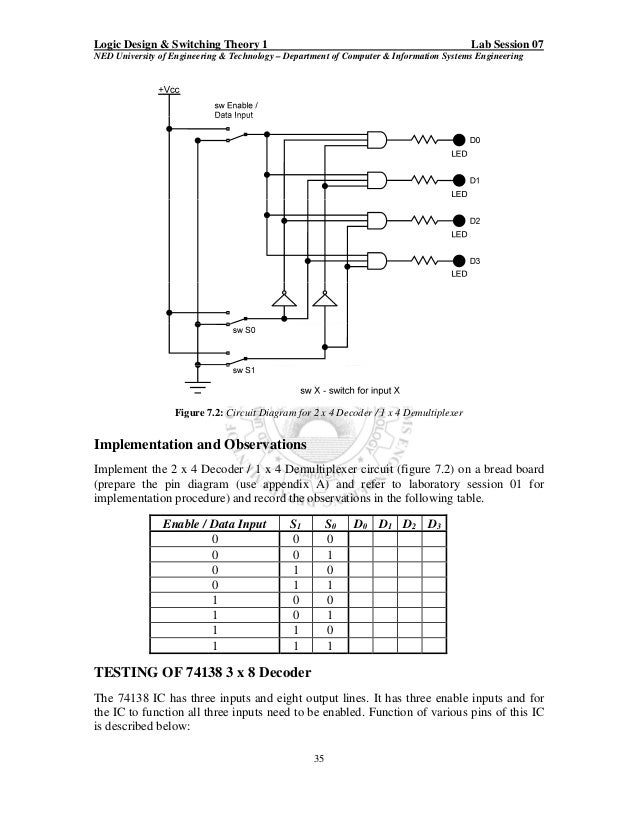 2 To 4 Decoder Circuit Diagram | Ewb Practical Workbook