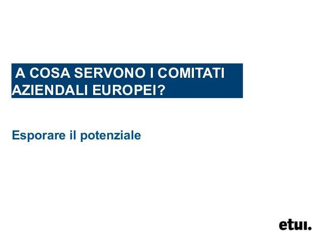 A COSA SERVONO I COMITATI AZIENDALI EUROPEI? Esporare il potenziale
