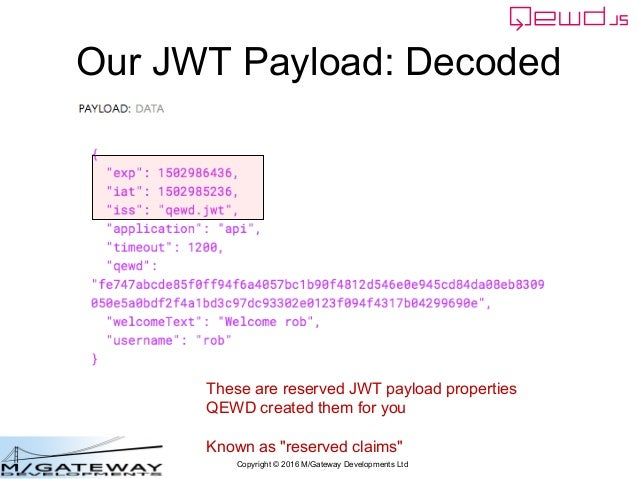 Copyright © 2016 M/Gateway Developments Ltd Our JWT Payload: Decoded These are reserved JWT payload properties QEWD create...