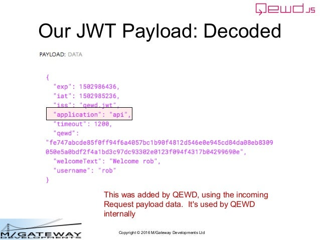 Copyright © 2016 M/Gateway Developments Ltd Our JWT Payload: Decoded This was added by QEWD, using the incoming Request pa...