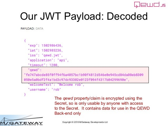 Copyright © 2016 M/Gateway Developments Ltd Our JWT Payload: Decoded The qewd property/claim is encrypted using the Secret...
