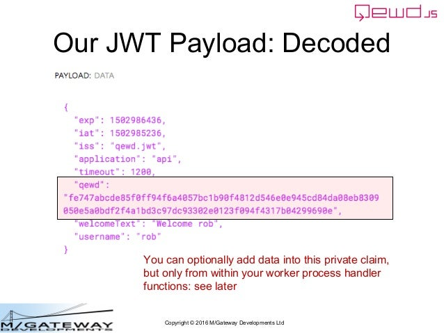 Copyright © 2016 M/Gateway Developments Ltd Our JWT Payload: Decoded You can optionally add data into this private claim, ...
