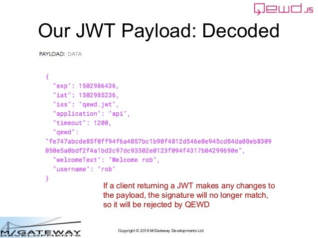 Copyright © 2016 M/Gateway Developments Ltd Our JWT Payload: Decoded If a client returning a JWT makes any changes to the ...