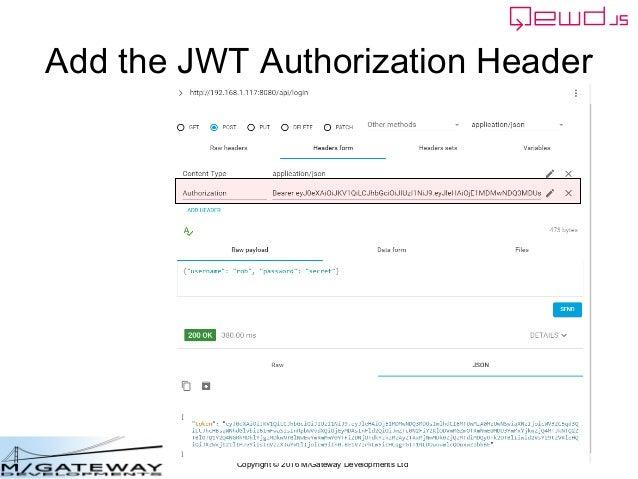 Copyright © 2016 M/Gateway Developments Ltd Add the JWT Authorization Header