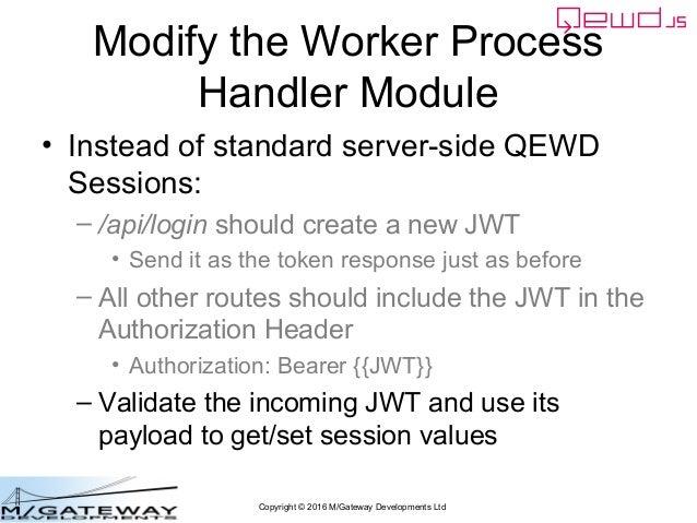 Copyright © 2016 M/Gateway Developments Ltd Modify the Worker Process Handler Module • Instead of standard server-side QEW...
