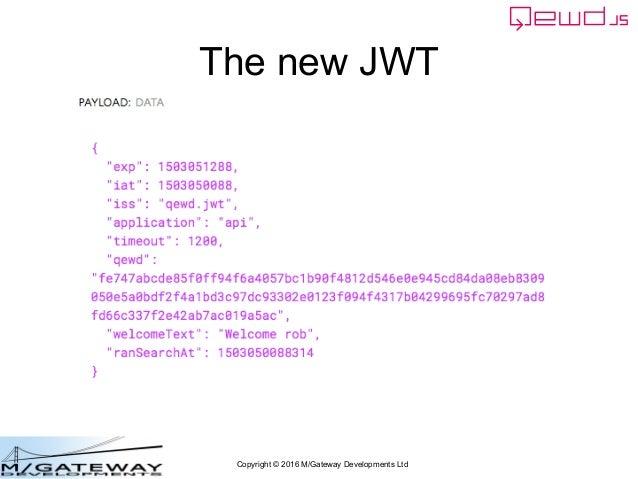 Copyright © 2016 M/Gateway Developments Ltd The new JWT
