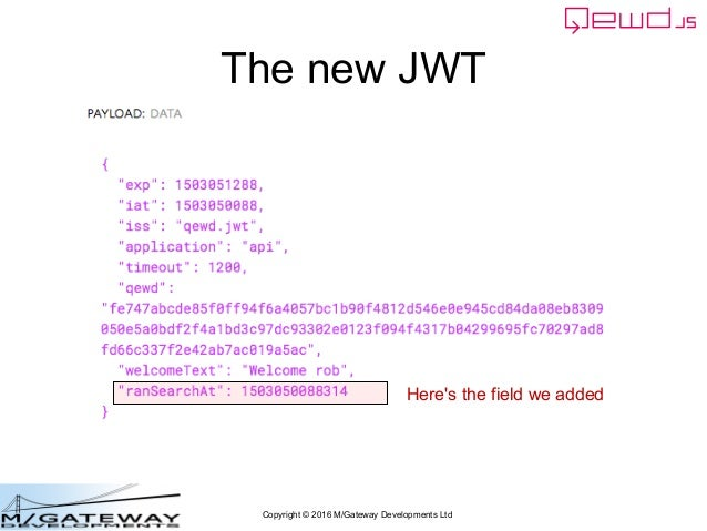 Copyright © 2016 M/Gateway Developments Ltd The new JWT Here's the field we added