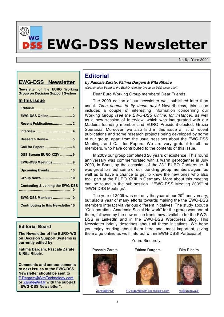 EWG-DSS Newsletter                                                                                                        ...