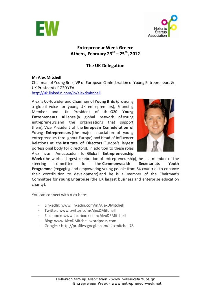 EntrepreneurWeekGreece                        Athens,February23rd–25th,2012                                      ...