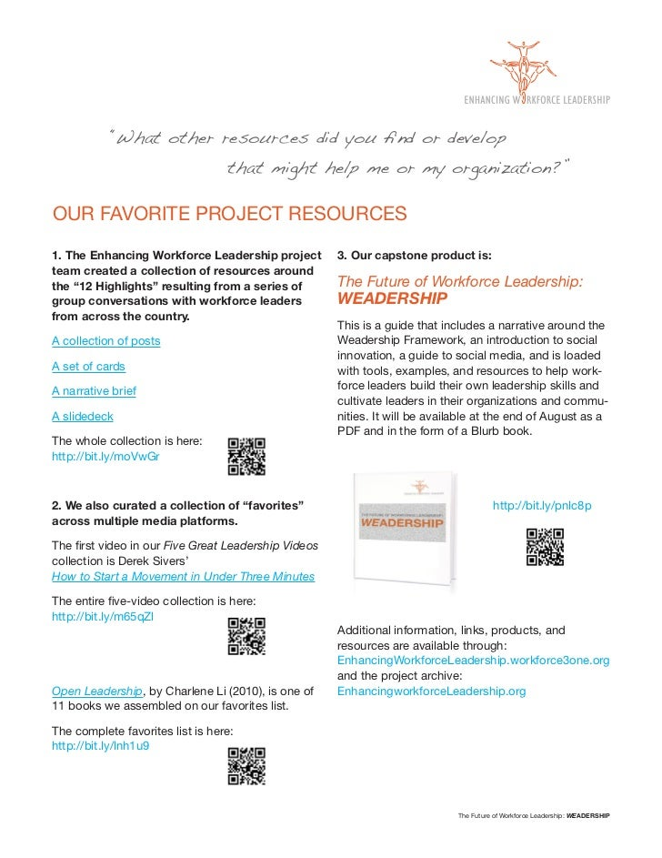 """""""What other resources did you find or develop                                  that might help me or my organization?""""OUR F..."""