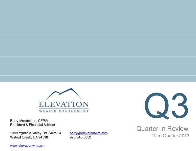 Barry Mendelson, CFP® President & Financial Advisor 1399 Y Ygnacio V ll Rd S it 24 i Valley Rd, Suite Walnut Creek, CA 945...