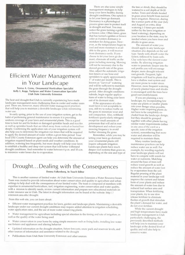 Efficient Water Management in Your Landscape - Utah State University