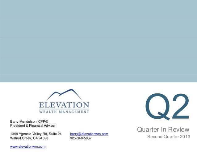 Quarter In Review Barry Mendelson, CFP® President & Financial Advisor 1399 Y i V ll Rd S it 24 b @ l ti Second Quarter 201...