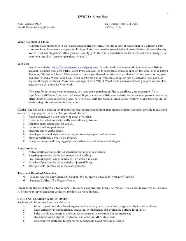 1 EWRT 1A: Green Sheet Kim Palmore, PhD Cell Phone: 408-674-3005 Email: Palmorekim@fhda.edu Office: F11-1 What is a Hybrid...