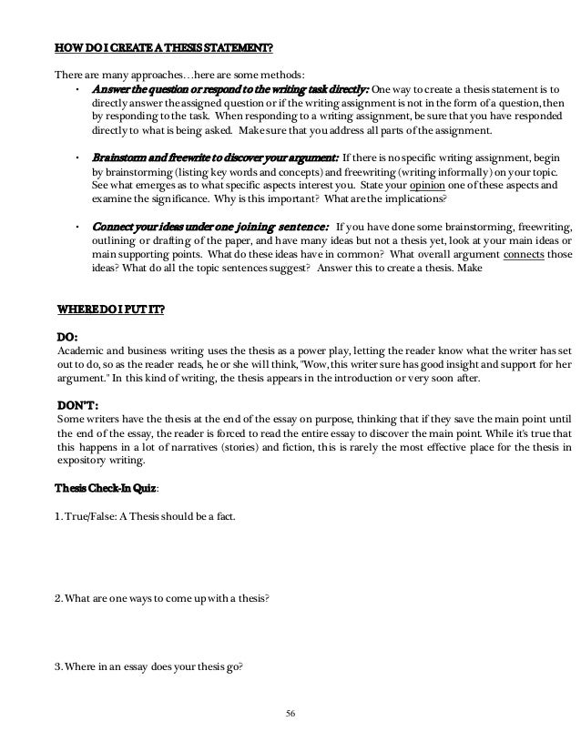 ewrta reader writing resources    how do i create a thesis statement