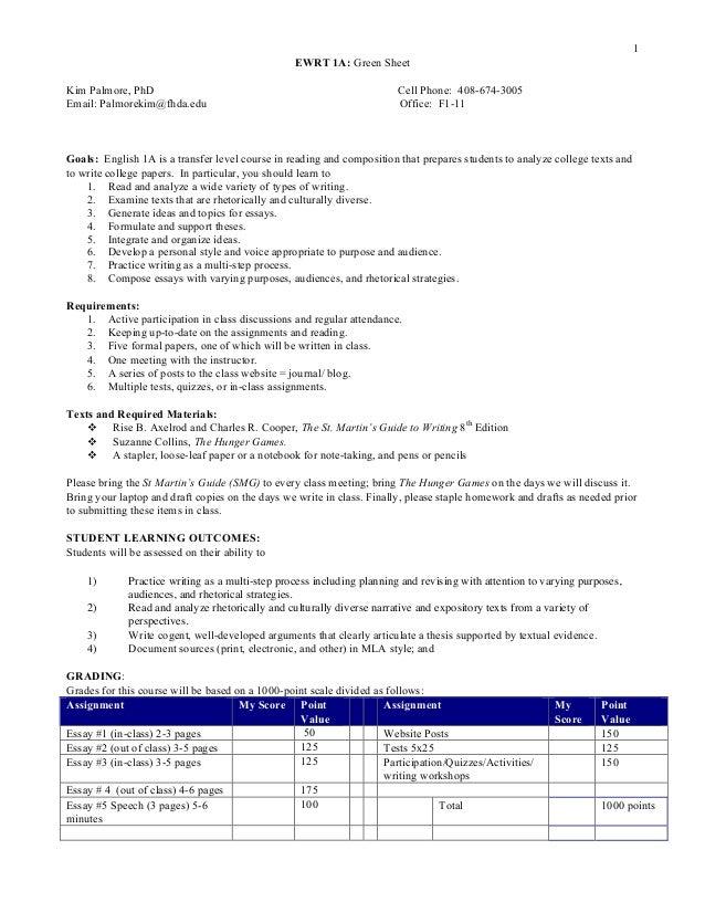 1 EWRT 1A: Green Sheet Kim Palmore, PhD Cell Phone: 408-674-3005 Email: Palmorekim@fhda.edu Office: F1-11 Goals: English 1...