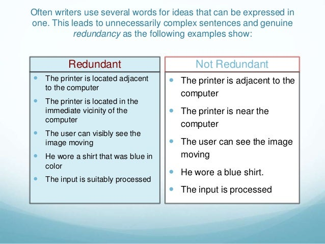 redundancy in writing Eliminate wordiness worksheet directions: read each sentence: rewrite the ones that seem too wordy if a sentence is correct, write correct.