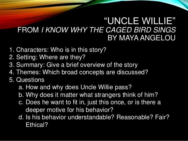 an analysis of the characters in i know why the caged bird sings I know why the caged bird sings by maya angelou: character analysis cliff notes free study guide for i know why the caged bird sings: book summary previous page | table of contents daddy bailey is a flat character.