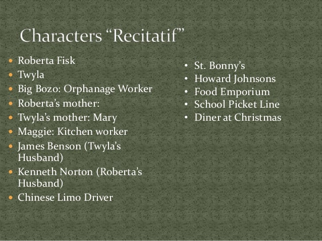 race in recitatif The recitatif community note includes chapter-by-chapter summary and  analysis,  the two do not think about race at such a young age, but as roberta .