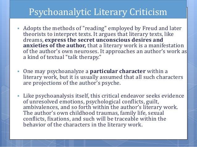 applying psychoanalytic theory to literature