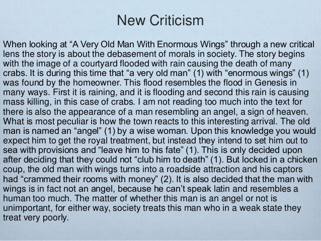 "ewrt c class post qhq the story of an hour ambiguity new criticism the formal elements 40 new criticism when looking at ""a very old man enormous wings"""