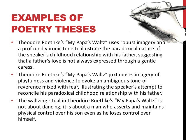 a review of theodore roethkes my papas waltz An analysis of the tone in theodore roethke's poem my papa's waltz pages 2 more essays like this: literary analysis, roethke, theodore roethke, my papa's waltz.