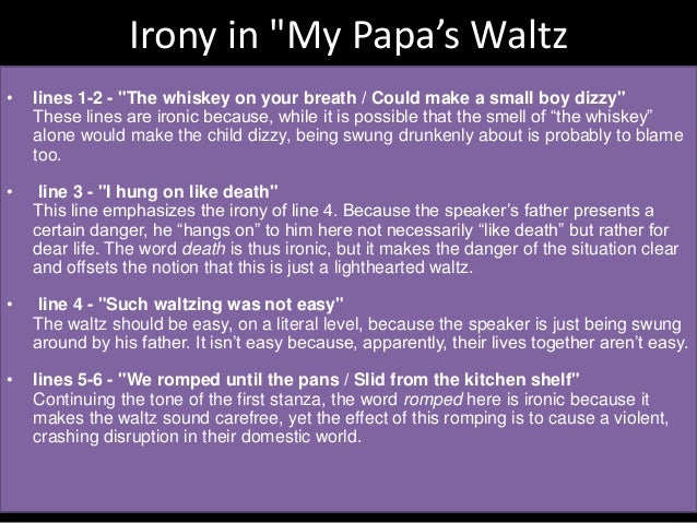 my papas waltz paper This 6 page report discusses the imagery and metaphor contained in theodore roethke's poem my papa's waltz in only takes four stanzas roethke presents the reader of his poem with a vivid and startling scene.