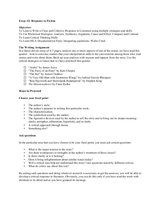 ewrt c essay assignment copy essay 2 response to fiction objectives to lean to write a clear and cohesive