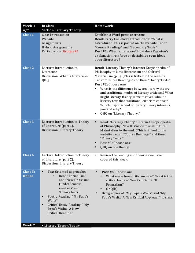 Week    1   4/7   In  Class     Section:  Literary  Theory   Homework   Class  1   Class  Intr...