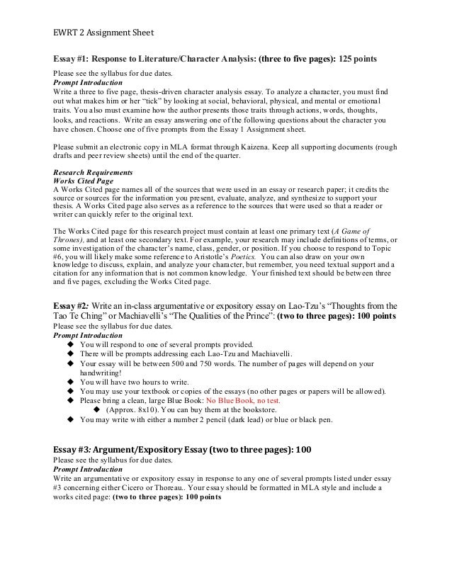 ewrt assignment sheet ewrt 2 assignment sheet essay 1 response to literature character analysis