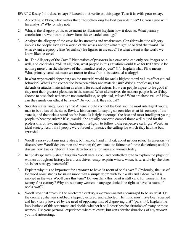 ewrt essay woolf and plato ewrt 2 essay 4 in ‐class essay please do