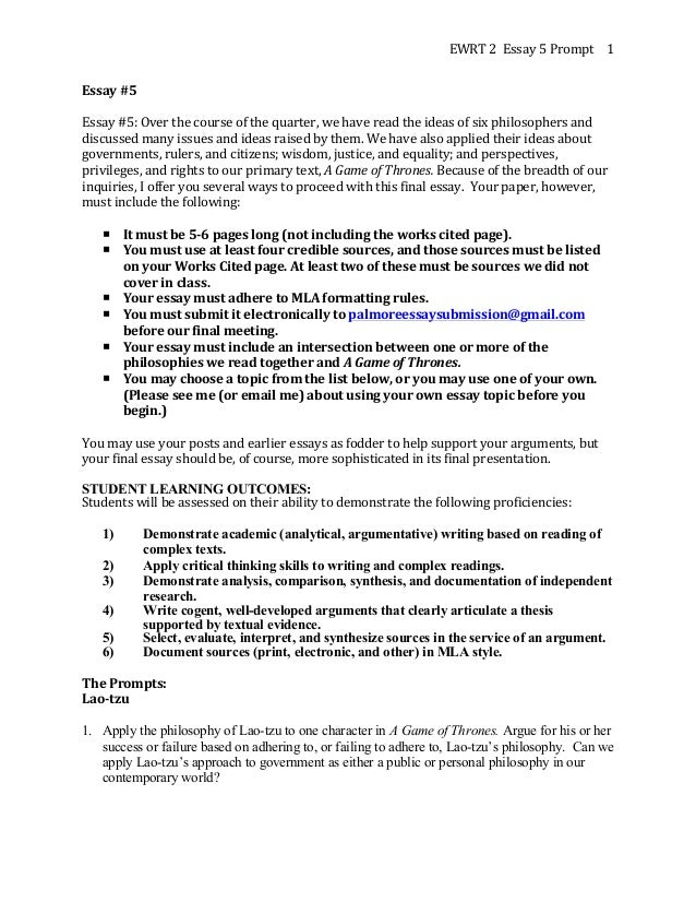 EWRT  2    Essay  5  Prompt     1   Essay  #5      Essay  #5:  Over  the  course  of  th...