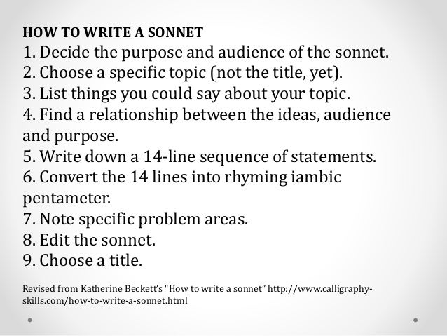 Ideas for Sonnets
