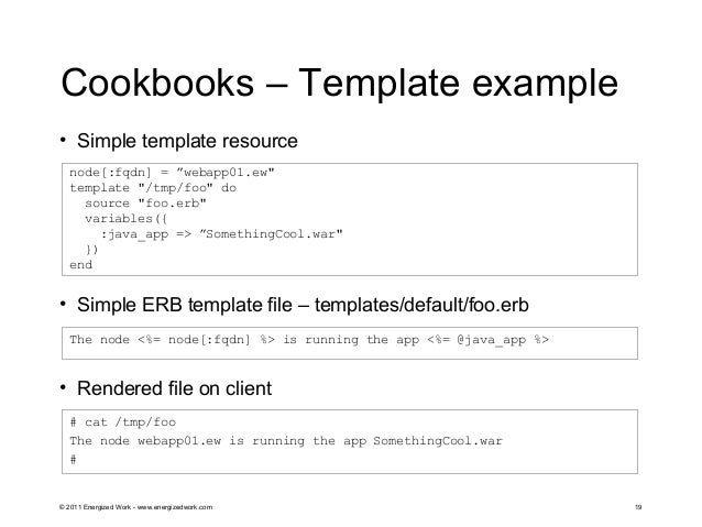 Chef managing yours servers with code for Chef template variables